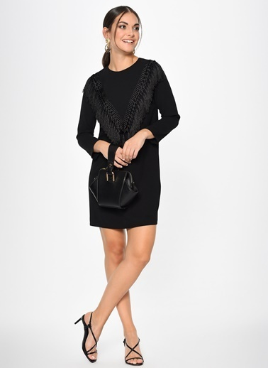 Loves You Püskül Detaylı Crep Elbise Siyah